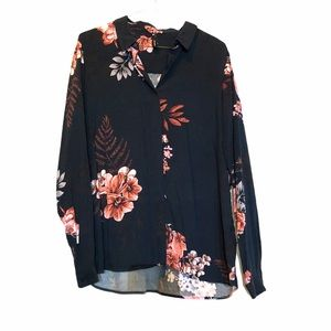 Soyaconcept navy blue floral buttoned long sleeve